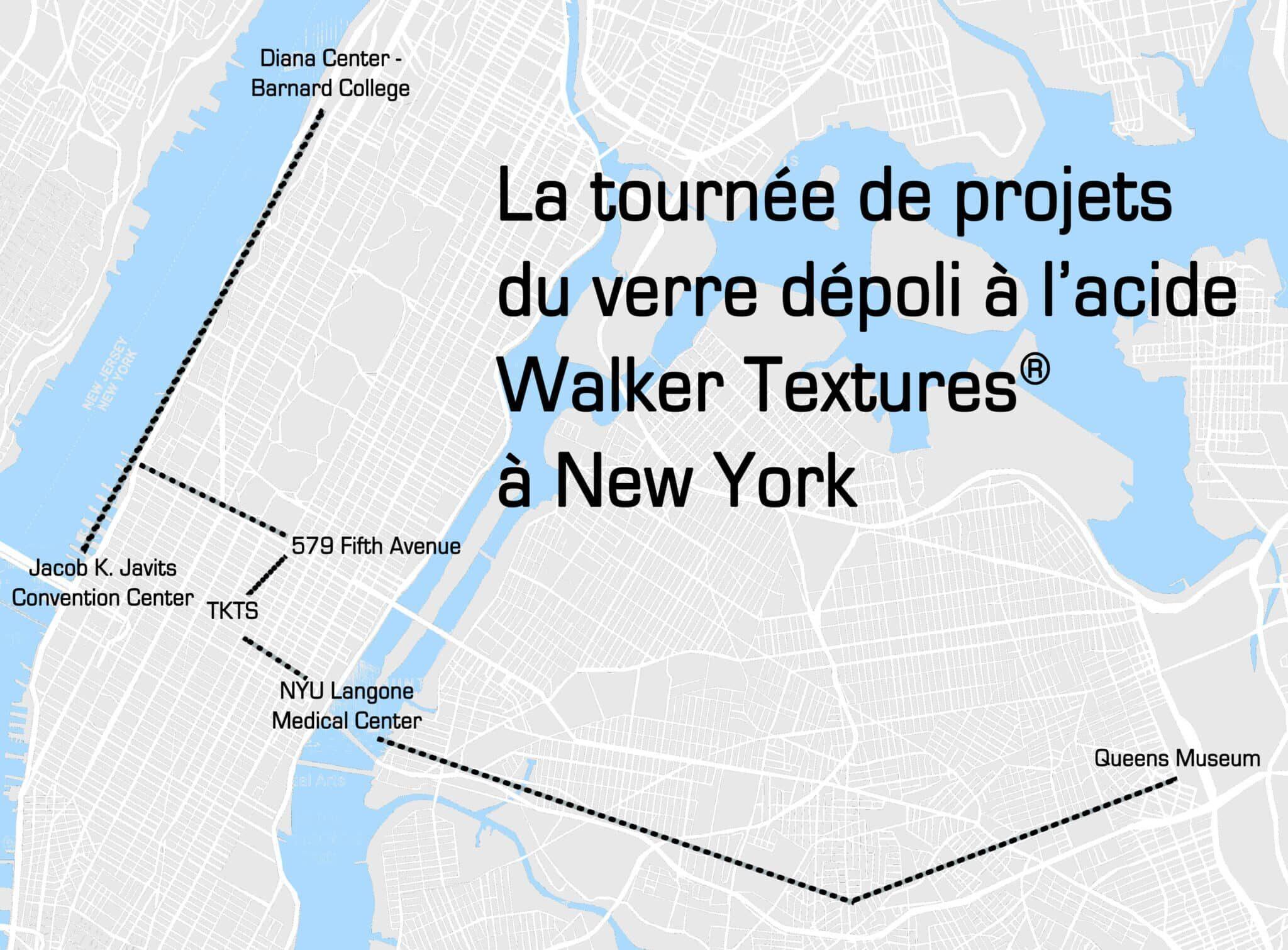 La tournée de projets du verre dépoli à l'acide Walker Textures® à New York